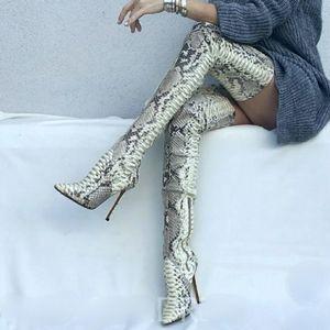Snake Print Thigh High Boots